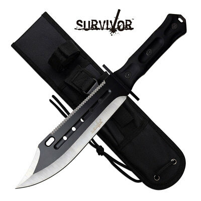 Survivor Apocalyptic Bowie Knife + Sheath Hunting Survival Tactical Camp Knife