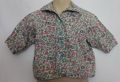 VINTAGE 80s Girls Green Blue Purple Roses Print Cotton Lightweight Jacket Top 2