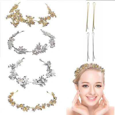 Vintage Boho Hair Vine Wedding Prom Headband Hairband Bridal Gold Silver Crystal