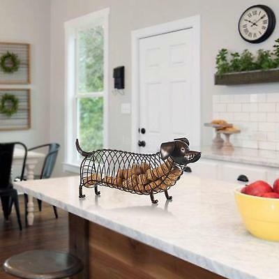Tooarts Dachshund  Wine Cork Container Iron Craft Animal Ornament Art Brown O3Q9