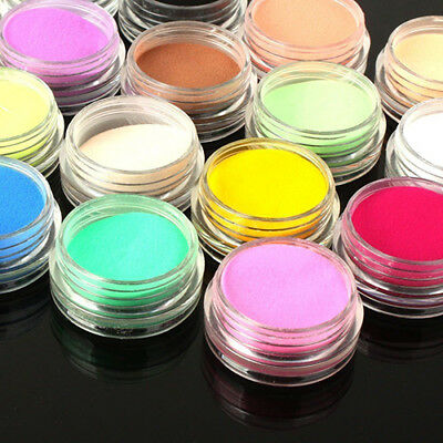 12Pcs Mixed Colors Acrylic Nail Art Tips UV Gel Powder Dust 3D DIY Set Sweet