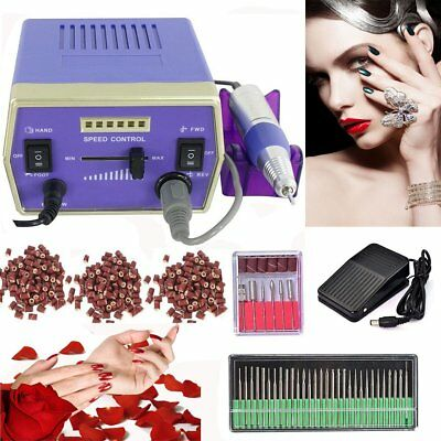 Pro Electric Acrylic Nail Drill File Machine Kit With Sand Bits Manicure Set SG