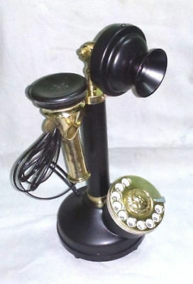 Antique-Vintage-Look-Black-Brass-Candlestick-Telephone-Rotary-Dial