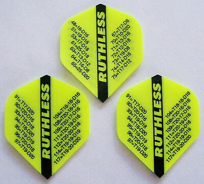 "Ruthless Extra Strong Dart Flights ""fluro yellow checkout"""