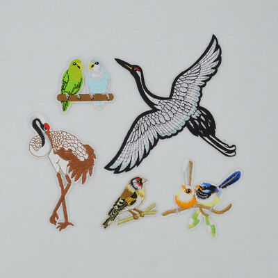 Ostrich bird Embroidered Patch Iron On Badge Sew crane Bag For Clothes Applique