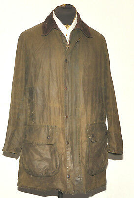 "Vintage Barbour Border Wax Jacket 40"" 102 Cm Green Two Crest"