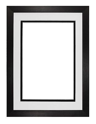 Black or White Matt Picture  Frame Photo Frames With Real Glass & Double Mount