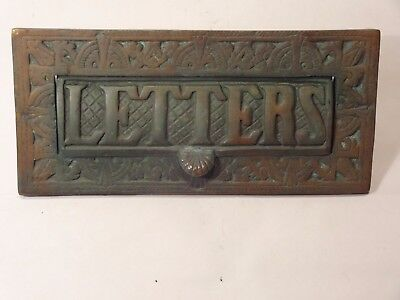 Victorian Reclaimed Ornate Solid Brass Letter Box Plate / Door Mail Slot