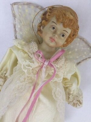 "Vintage ANGEL TREE TOPPER 10"" Ivory Lace Dress"