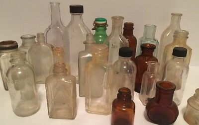 Lot of 25 Antique Bottles Medicine, Pharmacy, Food Collectible Small Glass Adver