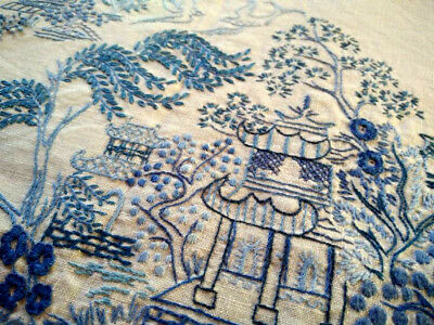 """Fabulous Blue Willow Rectangle  ~ Hand Embroidered Large Tablecloth 47"""" X 68"""""""