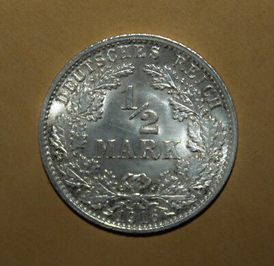 Germany 1/2 Mark 1916-A Brilliant Uncirculated Silver Coin - Imperial Eagle