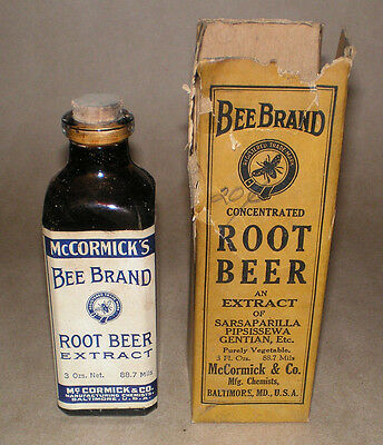 Vintage McCormick Glass Bottle Bee Brand Root Beer Extract Original Box Full