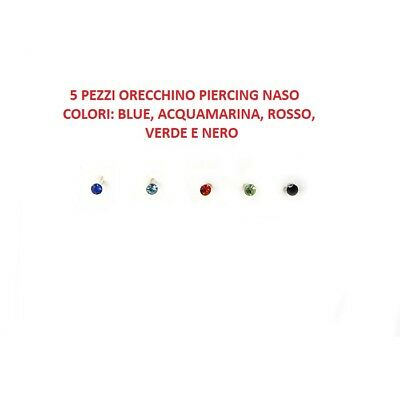 5 Orecchino Naso Piercing Nasino In Argento 925 Brillantino 1,5 mm colorati