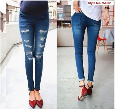 Maternity jeans OverBump Skinny Straight Leg Pregnancy Denim Pants Black blue