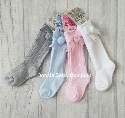 ☆ Baby Girls Boys Gorgeous Knee High Soft Touch Pom Pom Ribbon Socks ☆ 0-18mths