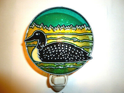 """Stain Glass Style - """"LOON""""    NIGHT LIGHT"""