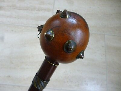 Antique Zulu Knobkerrie, original brass studs to head, perfect bindings to haft