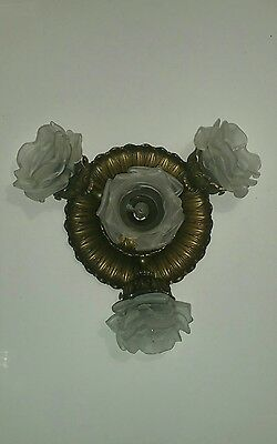 Antique vtg gold metal ceiling chandelier lamp w flower french glass shades