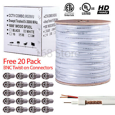 RG59 Siamese Bulk Cabel Power Wire 500ft 1000ft 20AWG+18/2 Security Camera CCTV