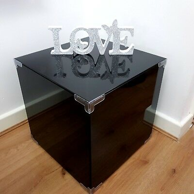 Lux Bedside Table Black Gloss Glass Bedroom Lamp Stand Nightstand Home Furniture