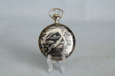 Taschenuhr  Perfecta  Motiv Wassersport  Tula  Silber   Niello Pocket Watch
