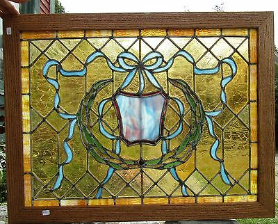Antique Stained Glass Window With Ribbons 22 By 29