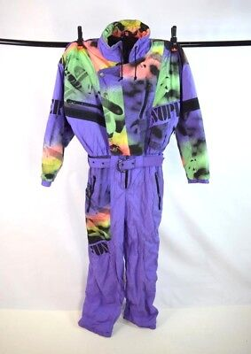 Vtg 80s Purple Green Neon Abstract Insulated Snow Ski Jumpsuit Coveralls M / L