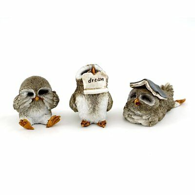Cute Little Owls Set of 3 Statues Miniature (4405) Fairy Garden New in Box