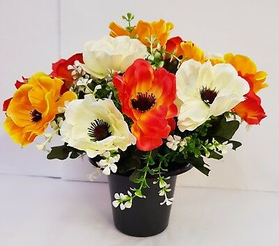 Artificial Flowers All Round Grave Arrangement Anemonies Orange Yellow Cream