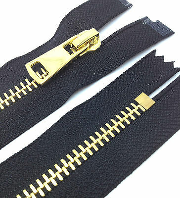 Black Polished Gold N5 Zip, Closed End Metal Zipper #5 (PG5CE)