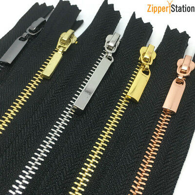 77a23ca9a Black  3 Closed End Zips - Brass
