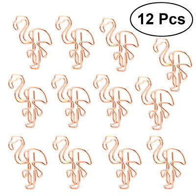 12Pcs Office Flamingo Steel Paper Clips Paperclips Metal Bookmark Stationery