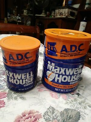 Vgt. MAXWELL House ADC Coffee Cans 2 Pound & 1lb. Metal Blue Tin Empty org.