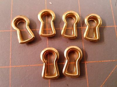 6 Brass Key Hole Covers Reproduction New Old Stock Vintage
