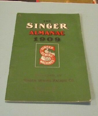 1909 Singer Sewing Machine Company Almanac Moon Phases Eclipses Information 48pg