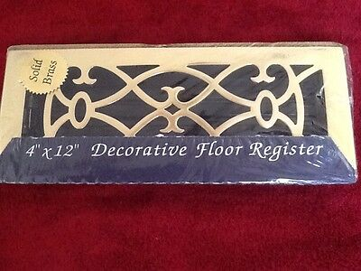 Antique ReproductIon Heavy Solid Brass Metal Box 4 X 12 Floor Vent Register NOS
