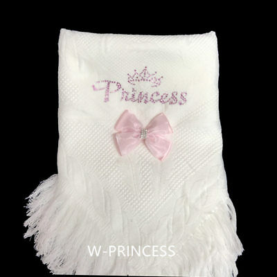 Gorgeous Baby Girl Fancy Knitted Shawl with Diamante Princess/ Detachable Bow