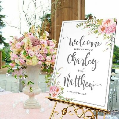 A5//A4//A3 – 39 Colours Personalised Wedding Sign Wedding Welcome Easels N5
