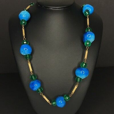 Egyptian Faience Donkey Bead Necklace Cobalt Blue Beads Antique Vtg Estate