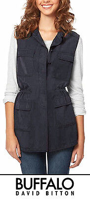 New! Buffalo David Bitton Ladies' Sleeveless Lightweight Vest Blue Denim Small