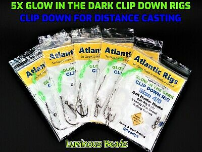 **free Postage** 5 X Sea Fishing Glow In The Dark Clip Down Rigs Cod Bass Plaice