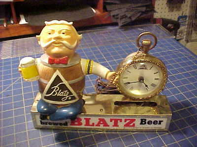 Vintage Blatz Beer Keg Man Pocket Watch Back Bar Clock! Complete With Watch Ring