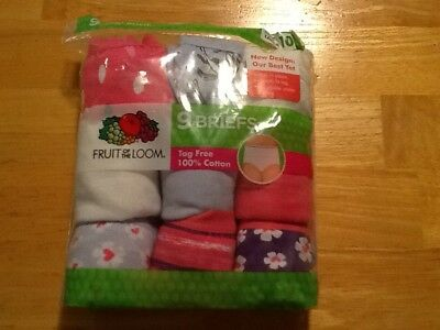 Girls Fruit Of The Loom 100% Cotton Briefs Panties 9 Pairs Size 10 NEW