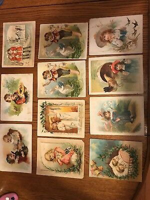 (11) Large 1800's Advertising Trade Cards Lion Coffee Easter & Christmas Lot