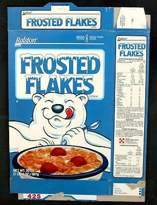 Ralston Frosted Flakes Flattened Cereal Box 1991 Breakfast Machine Game