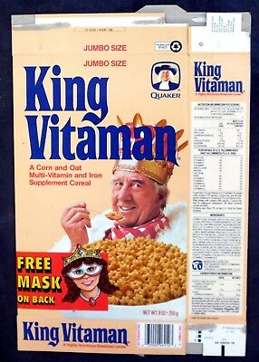Quaker King Vitaman Flattened Cereal Box 1990's Mystery Queen Mask Cut-Out
