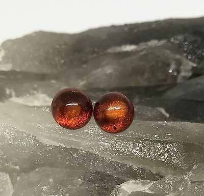 Amber Cognac & Sterling Silver Stud Earrings 8mm - Healing Crystal Gemstones