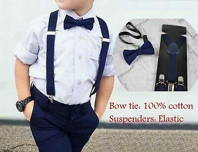 Baby BOY KIDS Navy Blue Cotton Bow Tie Braces Elastic Suspenders 1-8 Years Old