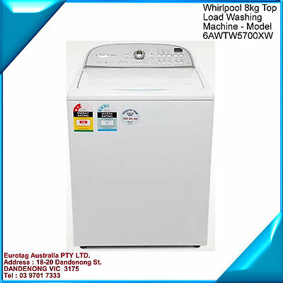 WHIRLPOOL 8kg TopLoad Washing Machine, COMMERCIAL GRADE 6AWTW5700XW